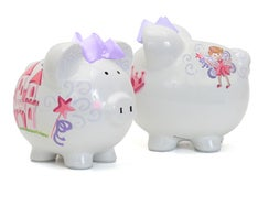 Personalized Hand-Painted Fancy Fairy Castle Piggy Bank