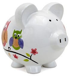 Personalized Hand-Painted Owl Piggy Bank