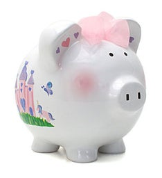 Personalized Hand-Painted Princess Castle Piggy Bank