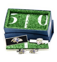 Baltimore Ravens Head Cufflinks with Shield 3-Piece Gift Set