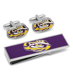 LSU Tigers Eye Cufflinks and Money Clip Gift Set