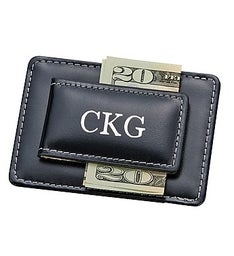 Personalized Leather Card Holder  Money Clip