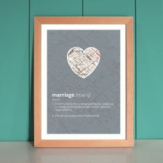 Personalized Marriage Dictionary Print In Green