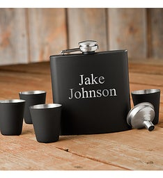 Custom Matte Black Flask  Shot Glass Gift Set