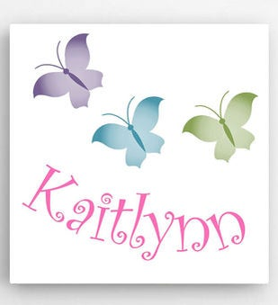 Personalized 14 x 14 Butterflies Kids Canvas