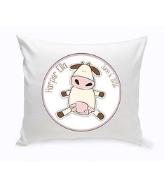 Personalized Baby Cow Nursery Throw Pillow
