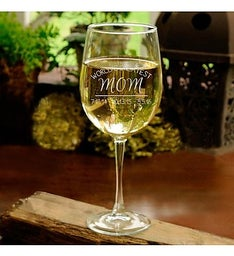 Worlds Greatest Mom Personalized Wine Glass