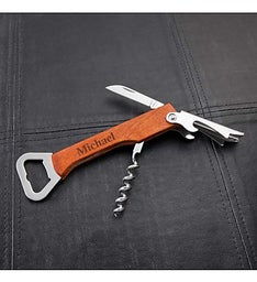 Personalized Wood Wine  Bottle Opener Multi-tool