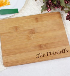 Engraved Family Name Bamboo Cheese Board