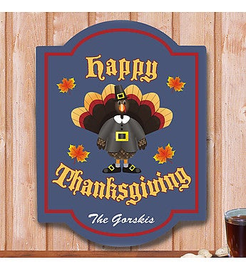 Happy Thanksgiving Personalized Wall Sign