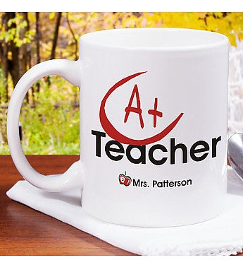 Personalized A+ Teacher Coffee Mug