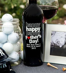 Personalized Tripple Happy Fathers Day Heart Wine