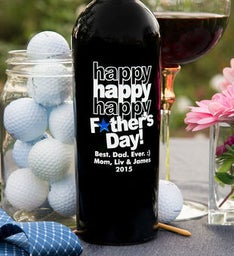 Personalized Tripple Happy Fathers Day Star Wine