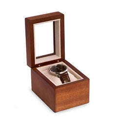 Cherry Wood Single Watch Box with Glass Top Velour Lining  Pillow