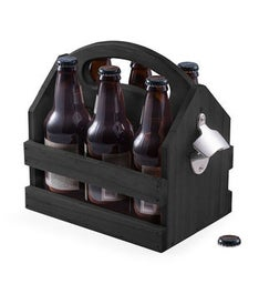 Personalized Black Solid Wood Beer  Beverage Caddy