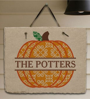 Personalized Pumpkin Slate Plaque