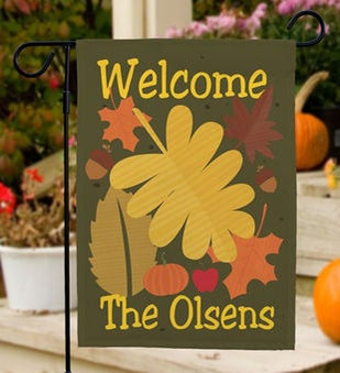 Welcome Fall Personalized Garden Flag