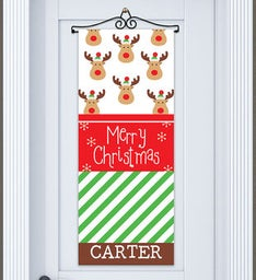 Personalized Christmas Reindeer Door Banner