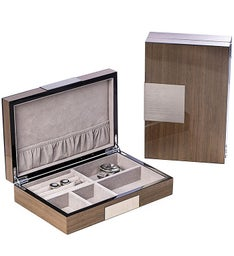 Personalized Silver Walnut Lacquered Wooden Valet