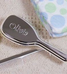 Engraved Silver Baby Comb and Brush Set