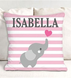 Personalized Elephant Striped Throw Pillow