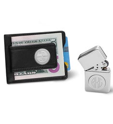 Personalized Black Leather Wallet  Chrome Lighter