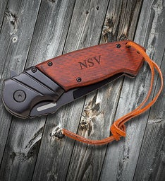 Custom Wood Handle Spring Assisted Pocket Knife