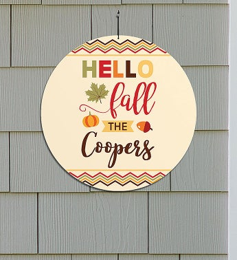 Personalized Hello Fall Round Wall Sign
