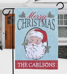 Personalized Merry Christmas Santa Garden Flag
