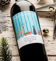 Winter Wishes Personalized Labeled Wine