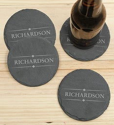 Personalized Name Slate Coaster Set