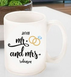 Personalized Mr  Mrs Wedding Ring Coffee Mug