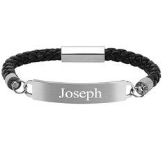 Personalized Leather ID Plate Bracelet