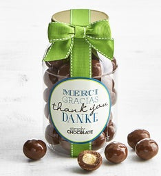 Simply Chocolate Thank You Malted Milk Balls Jar