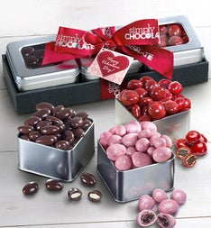 Simply Chocolate Valentine Fruit & Nut Tin Trio