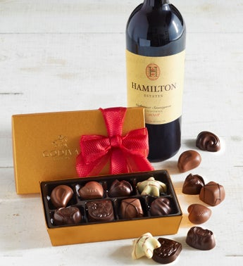 Godiva 8pc Gold Ballotin with Cabernet Wine