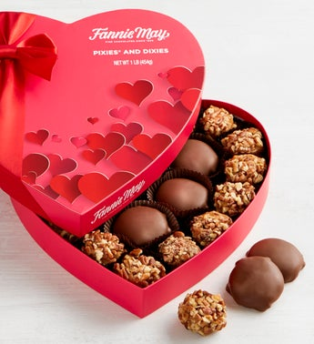 Fannie May Pixie Dixie Chocolates Heart Box  1 LB