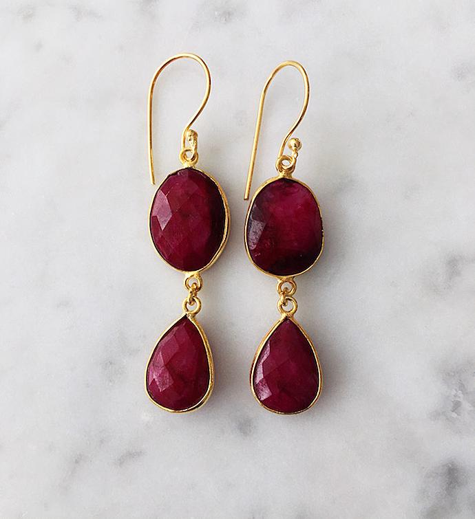 Rome Earrings Ruby and Ruby
