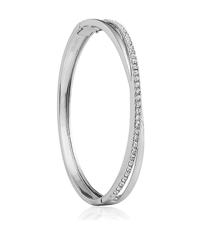 18k White Gold Double Bangle with Crystals