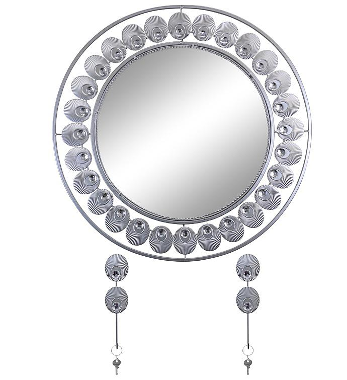Silver Wall Mirror  Key Holder
