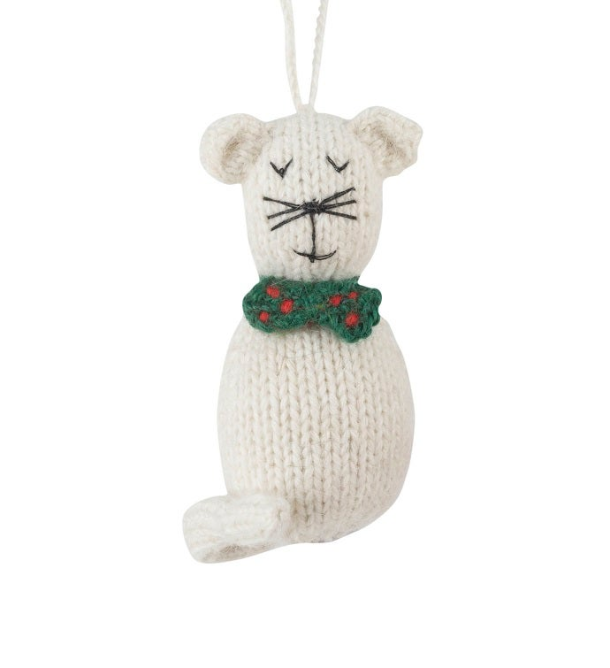 Hand Knit Alpaca Wool Christmas Ornament - Cats