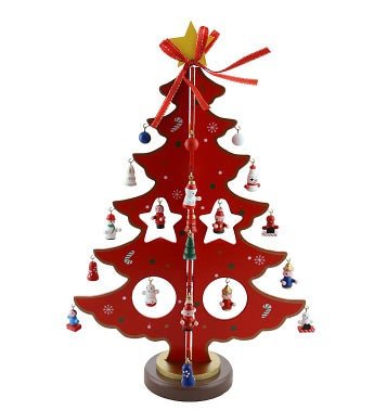Red Wooden Christmas Tree