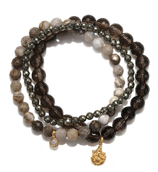 Smokey Quartz Agate Pyrite Gold Ganesha Stretch Bracelet Set