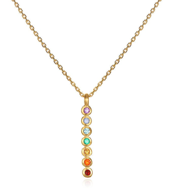 Multi Stone Chakra Vertical Necklace 18-inch
