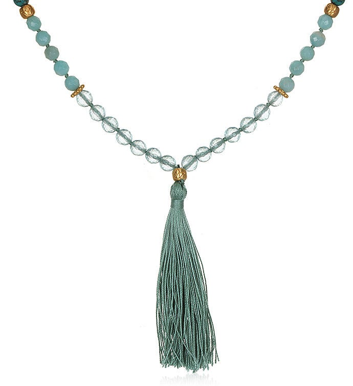 Turquoise Amazonite  Aqua Quartz Lotus Mala Tassel Necklace