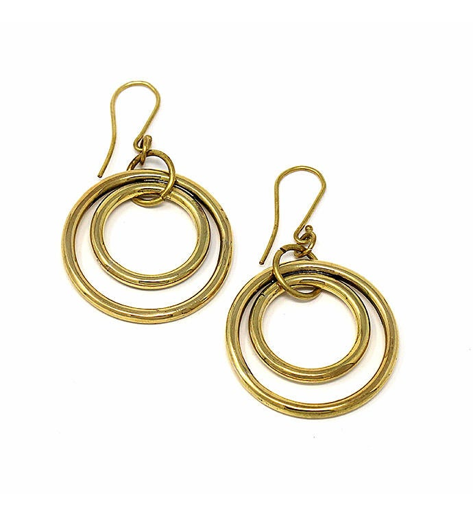 Handmade Nested Circles Brass Hoop Earrings