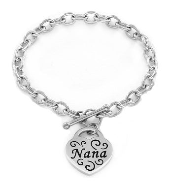 """nana"" Engraved Stainless Steel Heart Charm Bracelet"
