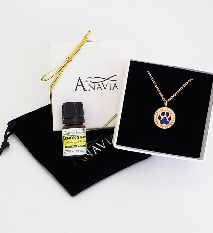 Mini Rhinestone Dog Paw Essential Oil Gift Set