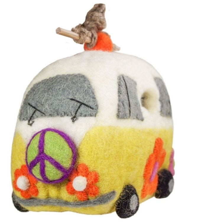 Handmade Wild Woolies Peace Magic Bus Felt Birdhouse