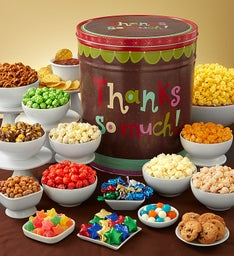 Thanks So Much Deluxe Snack Assortment & 3-Flavor Popcorn Tins